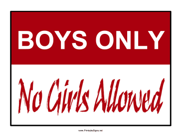 Printable Boys Only Si...