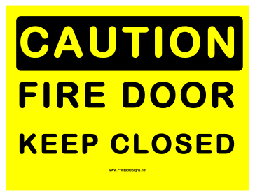 Caution Keep Fire Door Closed Sign
