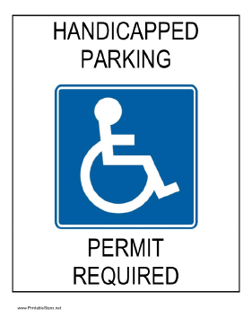 printable handicapped parking permit required sign. Black Bedroom Furniture Sets. Home Design Ideas
