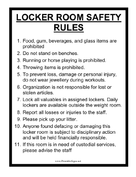 Locker_Room_Safety_Rules_Sign Safety Editable Newsletter Template on march preschool, free government monthly, free elementary, may preschool, free hospital, young women, teacher month superhero, easy preschool, weekly company, microsoft word, free business, free superhero,