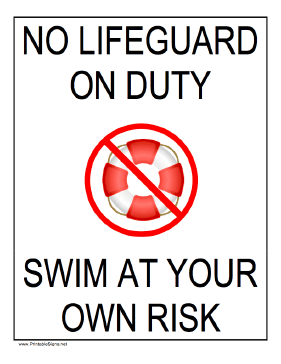 No Lifeguard - Swim At Your Own Risk Sign