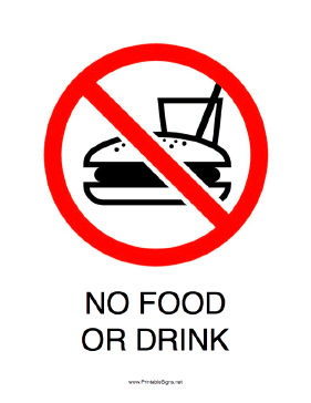 Sweet image pertaining to no food or drink signs printable