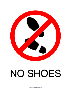 Transformative image in no shoes sign printable