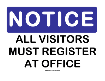 all visitors must sign in template - printable notice register sign