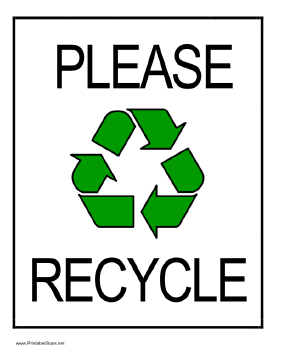 printable please recycle sign