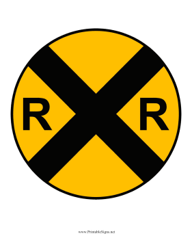 Vibrant image in railroad crossing sign printable