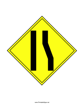 printable right lane ends sign sign