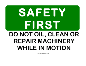 Safety Dont Clean Moving Machines Sign