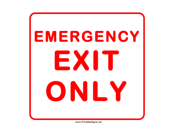 Printable Emergency Exit Only Sign