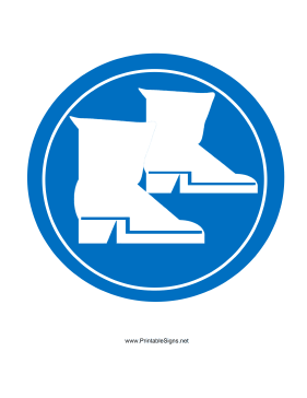 printable wear safety boots sign