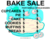 Bake Sale with Blank Price List