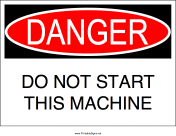 Do Not Start Machine