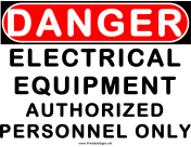Danger Electrical Equipment