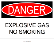 No Smoking Explosive Gas