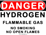 Danger Flammable Gas Hydrogen