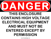 Danger HV Electrical Equipment