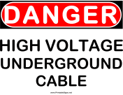 Danger HV Underground Cable
