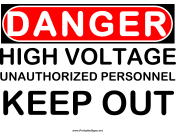 Danger High Voltage Keep Out