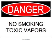 No Smoking Toxic Vapors